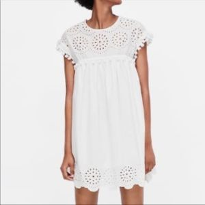 NWT White Eyelet Cut Out Mini Dress With Pom Poms